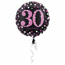 Helium Ballon 30 Jaar Roze 43cm leeg