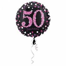 Helium Ballon 50 Jaar Roze 43cm leeg