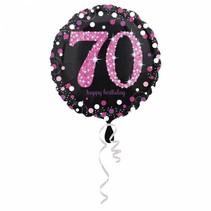 Helium Ballon 70 Jaar Roze 43cm leeg