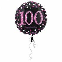 Helium Ballon 100 Jaar Roze 43cm leeg