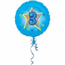 Helium Ballon 3 Jaar Blauw 43cm leeg