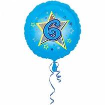 Helium Ballon 6 Jaar Blauw 43cm leeg