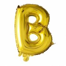 Folie Ballon Letter B Goud 41cm met rietje