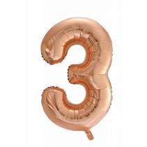 Folie Ballon Cijfer 3 Rosé Goud XL 86cm leeg