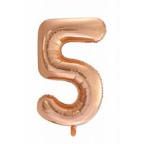 Folie Ballon Cijfer 5 Rosé Goud XL 86cm leeg