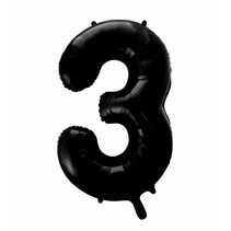 Folie Ballon Cijfer 3 Zwart XL 86cm leeg