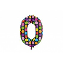 Folie Ballon Cijfer 0 Stippen XL 86cm leeg