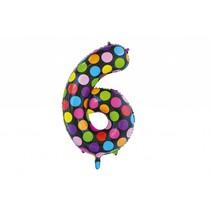 Folie Ballon Cijfer 6 Stippen XL 86cm leeg