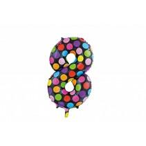 Folie Ballon Cijfer 8 Stippen XL 86cm leeg
