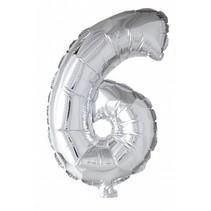 Folie Ballon Cijfer 6 Zilver 41cm met rietje