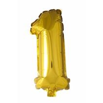 Folie Ballon Cijfer 1 Goud 41cm met rietje