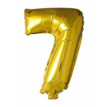 Folie Ballon Cijfer 7 Goud 41cm met rietje