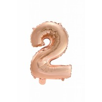 Folie Ballon Cijfer 2 Rosé Goud 41cm met rietje