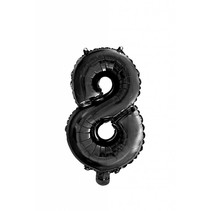 Folie Ballon Cijfer 8 Zwart 41cm met rietje