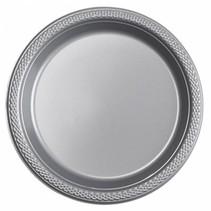 Zilveren Gebaksbordjes Plastic 18cm 8 stuks