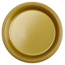 Gouden Gebaksbordjes Plastic 18cm 8 stuks