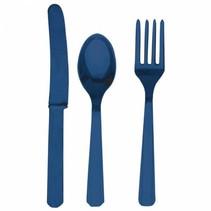 Donkerblauw Bestek Plastic 24 delig