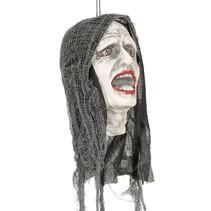 Halloween Hangdecoratie Zombie Hoofd met licht 25cm