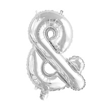 Folie Ballon En-Teken & Zilver 41cm met rietje