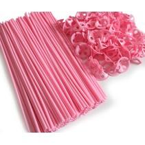 Ballonstokjes Roze met houders 40cm 100 stuks