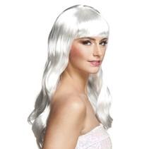 Pruik Lang Haar Wit