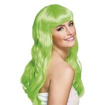 Pruik Lang Haar Lime Groen