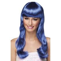 Pruik Lang Haar Blauw