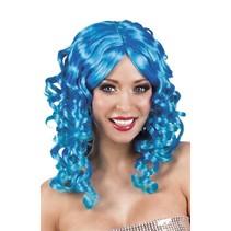Pruik Half Lang Haar Krul Blauw