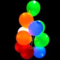Gekleurde Led Ballonnen Metallic met schakelaar 30cm 4 stuks