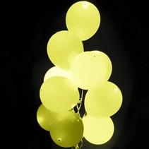 Lichtgele Led Ballonnen Metallic met schakelaar 30cm 4 stuks