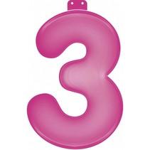 Opblaascijfer 3 Roze 35cm