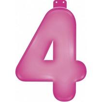 Opblaascijfer 4 Roze 35cm