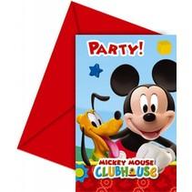 Mickey Mouse Uitnodigingen Versiering 6 stuks