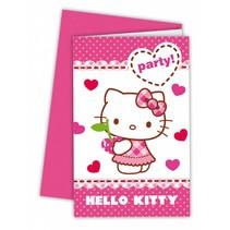 Hello Kitty Uitnodigingen 6 stuks