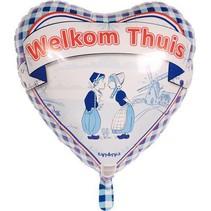 Helium Ballon Welkom Thuis Delfts Blauw 45cm leeg