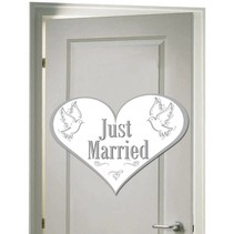 Deurbord Just Married 45cm