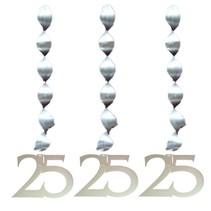 Hangdecoratie 25 Zilver 25cm 3 stuks