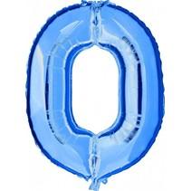 Folie Ballon Cijfer 0 Blauw XL 86cm leeg