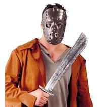 Halloween Masker Jason met machete voorkant