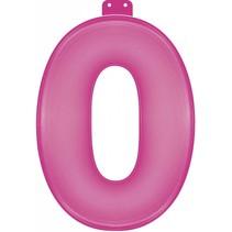 Opblaascijfer 0 Roze 35cm