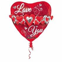 Helium Ballon Hart Riem I Love You 58cm leeg