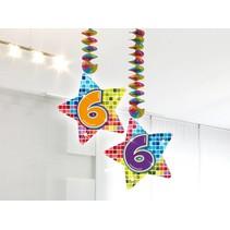 Hangdecoratie 6 Jaar 75cm 2 stuks