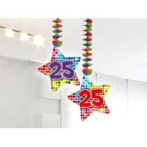 Hangdecoratie 25 Jaar 75cm 2 stuks