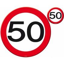 Placemats en Onderzetters 50 Jaar Verkeersbord 4 stuks