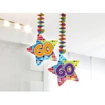 Hangdecoratie 60 Jaar 75cm 2 stuks