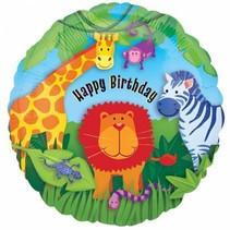 Helium Ballon Happy Birthday Dieren 43cm leeg