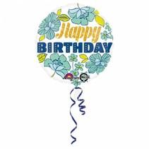 Helium Ballon Happy Birthday Glitter Bloem 43cm leeg