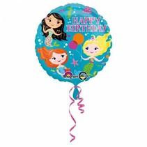 Helium Ballon Happy Birthday Zeemeermin 43cm leeg