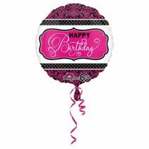 Helium Ballon Happy Birthday Roze & Zwart 43cm leeg