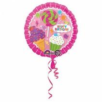 Helium Ballon Happy Birthday Candy 43cm leeg